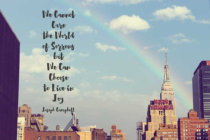 We Cannot Cure the World of Sorrows but We Can Choose to Live in Joy -Joseph Campbell | www.mindfulmemorykeeping.com