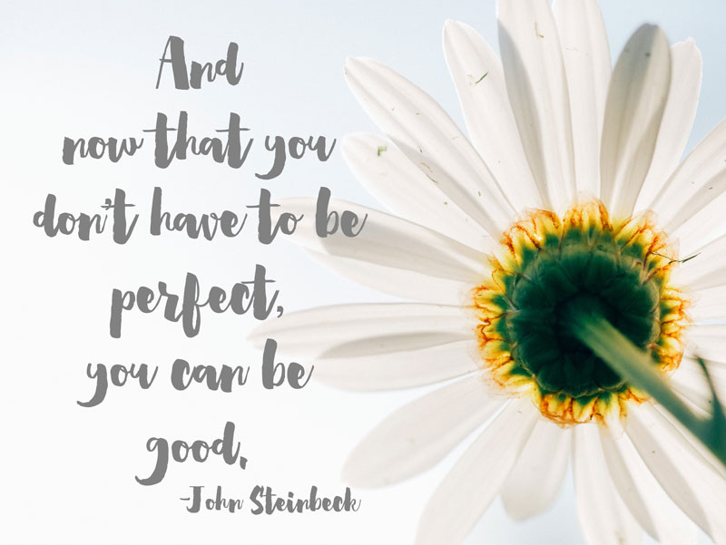 And now that you don't have to be perfect, you can be good. -John Steinbeck